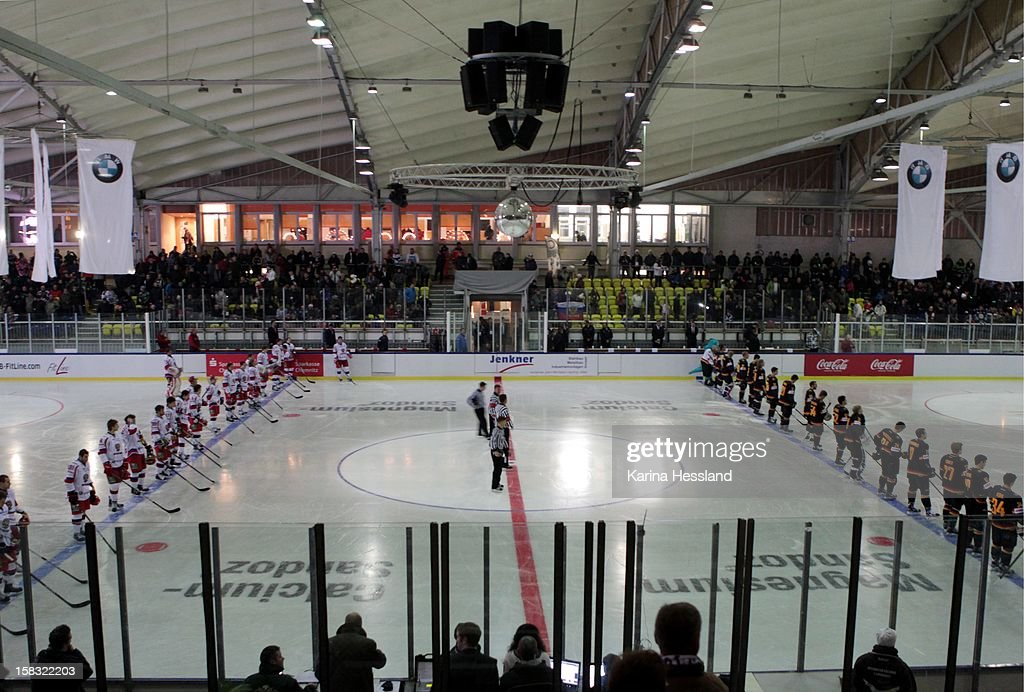 Team of Germany and Team of Russia line up during the national anthems during the Top Teams Sotchi match between Germany and Russia at Kuechwaldhalle on December 11, 2012 in Chemnitz, Germany.