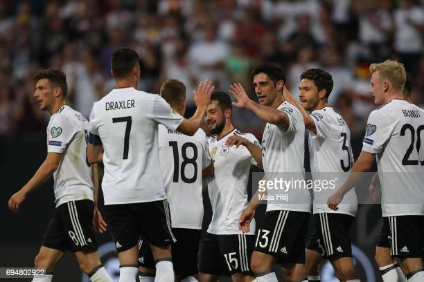 Team of Germany celebrates after a goal to make it 40 during the FIFA 2018 World Cup Qualifier between Germany and San Marino on June 10 2017 in...