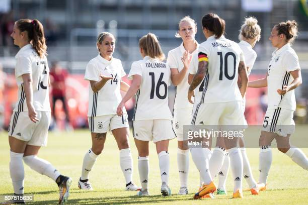 Team of Germany celebrates after scoring a goal to make it 10 during the Women's International Friendly match between Germany and Brazil at...