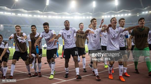 Team of Germany celebrates after winning the FIFA U17 World Cup India 2017 Round of 16 match between Columbia and Germany at Jawaharlal Nehru Stadium...