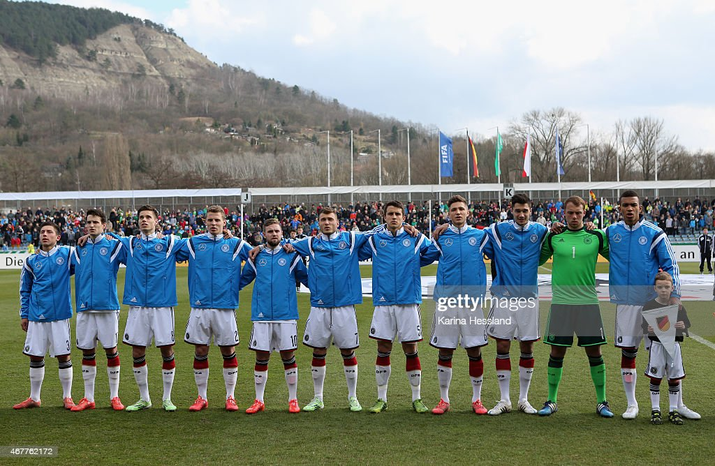 Team of Germany during the national anthem during the International Friendly match between U20 Germany and U20 Poland at ErnstAbbeSportfeld on March...