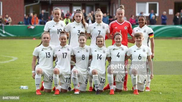 Team of Germany line up for team photos prior to the Girls U16 international friendly match between Germany and United States at Krandelstadion on...