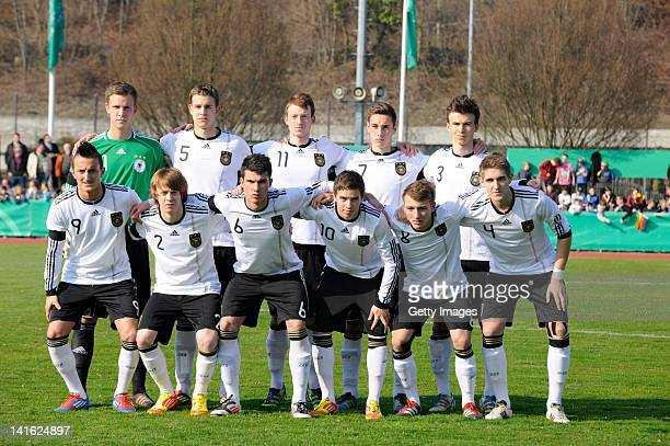 Team of Germany pose during the U18 international friendly match between Germany and France on March 20 2012 in Weil am Rhein Germany