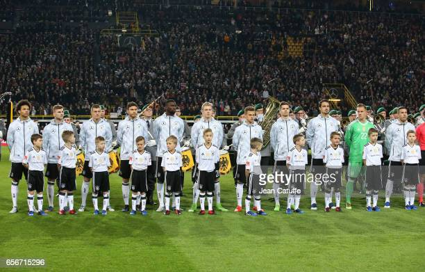 Team of Germany poses before the international friendly match between Germany and England at Signal Iduna Park on March 22 2017 in Dortmund Germany
