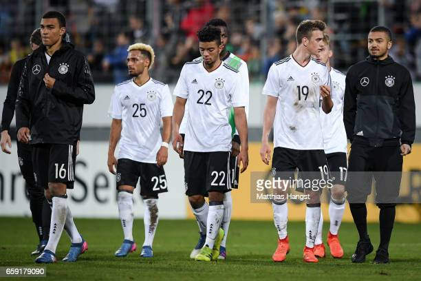 Team of Germany react after the U21 International Friendly match between Germany U21 and Portugal U21 at GaziStadion auf der Waldau on March 28 2017...