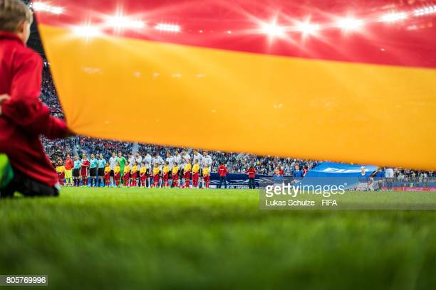 Team of Germany sing the national anthem prior to the FIFA Confederations Cup final match between Chile and Germany at Saint Petersburg Stadium on...