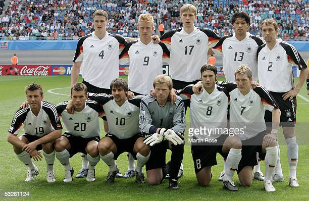 Team of Germmany poses before the game between germany and Mexico for the third place for the FIFA Confederations Cup 2005 at the Zentral Stadium on...