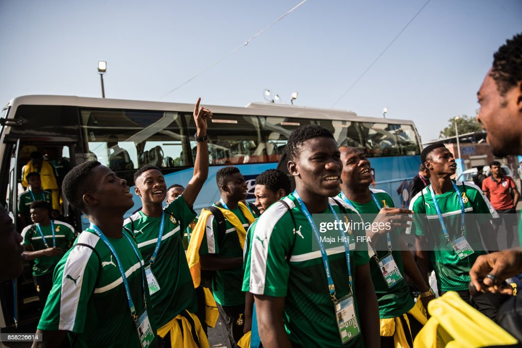 Team of Ghana arrives prior the FIFA U-17 World Cup India 2017 group A match between Colombia and Ghana at Jawaharlal Nehru Stadium on October 6, 2017 in New Delhi, India.
