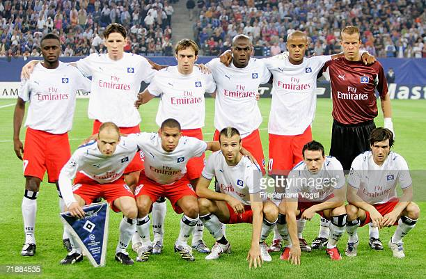 Team of Hamburg lines up before the UEFA Champions League Group G match between Hamburger SV and Arsenal at the AOL Arena on September 13 2006 in...
