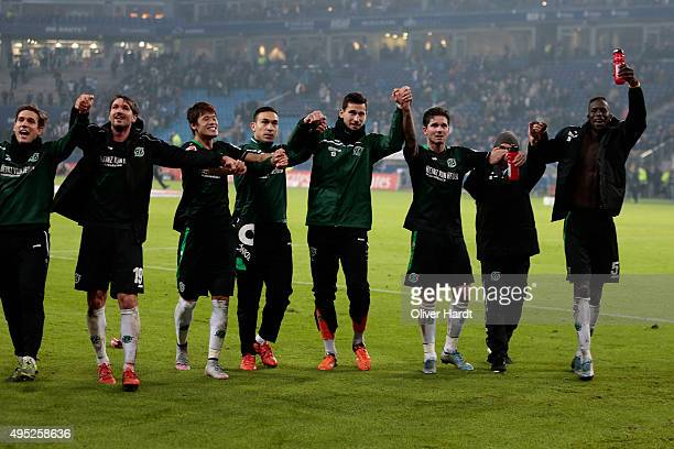Team of Hannover celebrate after the First Bundesliga match between Hamburger SV and Hannover 96 at Volksparkstadion on November 1 2015 in Hamburg...