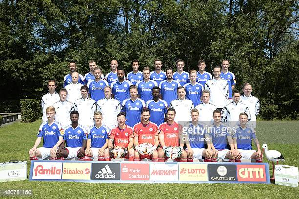 Team of Holstein Kiel poses during the official team presentation of Holstein Kiel at Projensdorf Centre on July 14 2015 in Kiel Germany