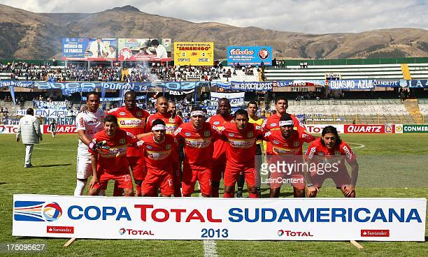 Team of Huancayo pose for a team photo before the match between Huancayo and Emelec as part of the Copa Total Sudamericana 2013 on July 31 2013 in...