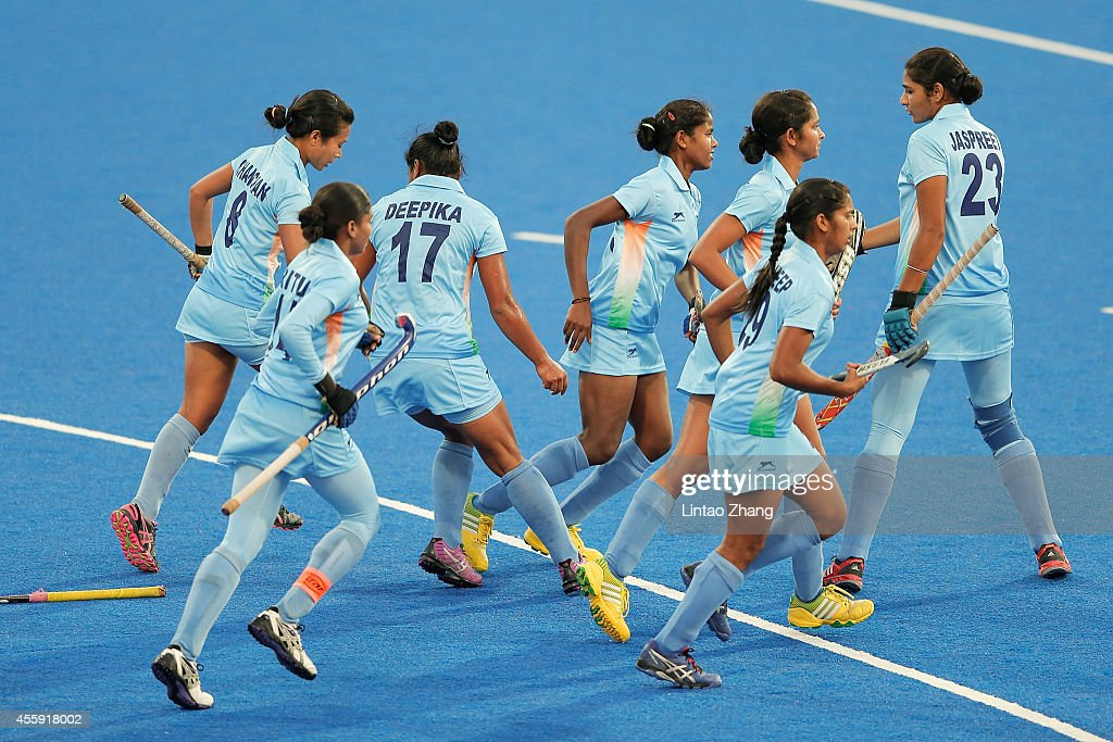 Team of India celebrate after win over the game during the Hockey Women's Pool B match between India and Thailand during day three of the 2014 Asian...