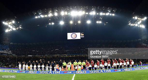 Team of Internazionale Milano and Team of Milan before the Serie A match between FC Internazionale Milano and AC Milan at Stadio Giuseppe Meazza on...