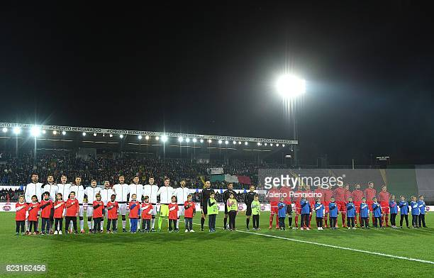 Team of Italy and team of Denmark line up during the International Friendly match between Italy U21 and Denmark U21 at Stadio Atleti Azzurri d'Italia...