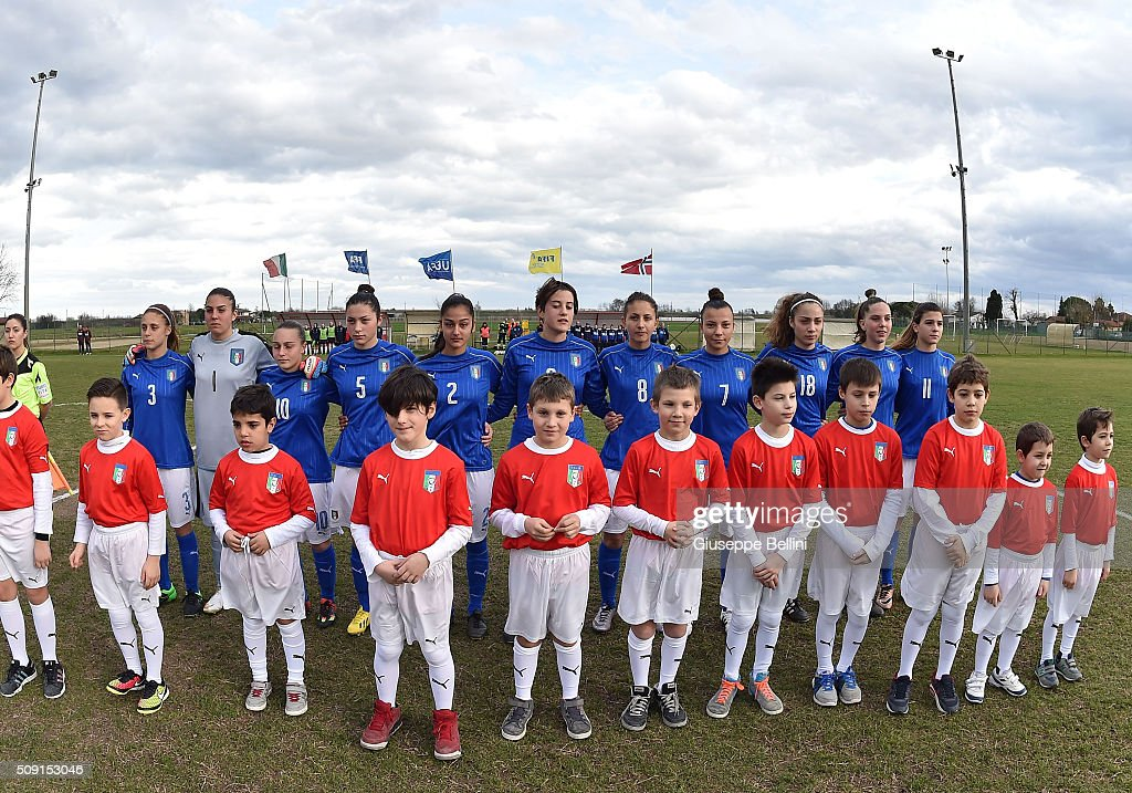 Team of Italy before the Women's U17 international friendly match between Italy and Norway on February 9, 2016 in Cervia, Italy.