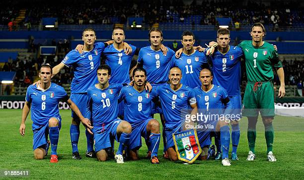 Team of Italy during the FIFA 2010 World Cup Group 8 Qualifying match between Italy and Cyprus at Ennio Tardini Stadium on October 14 2009 in Parma...