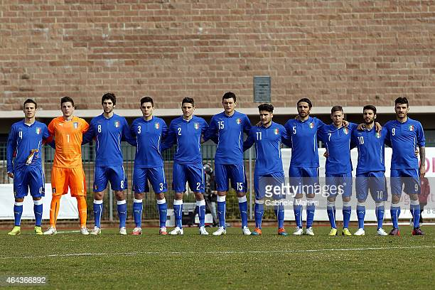 Team of Italy U20 before the international friendly match between Italy U20 and Qatar U20 on February 25 2015 in Montelupo Fiorentino Italy