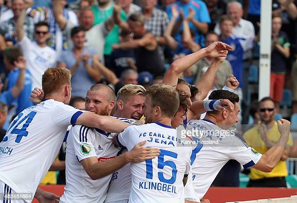 Team of Jena celebrate the fifth goal by Johannes Pieles during the First Round of DFBCup between FC Carl Zeiss Jena and Hamburger SV at...