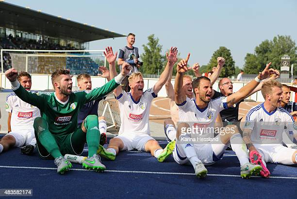 Team of Jena celebrates the victory in front of the Fans after the First Round of DFBCup between FC Carl Zeiss Jena and Hamburger SV at...