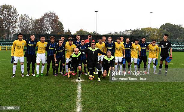 Team of Jiangsu Suning FC U19 and Fc Internazionale Team pose during the friendly match between FC Internazionale Primavera and Jiangsu Suning FC U19...