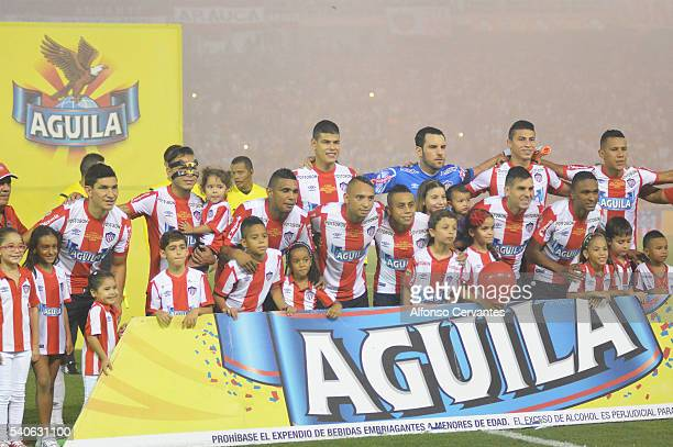 Team of Junior pose prior to a first leg final match between Junior and Independiente Medellin as part of Liga Aguila I 2016 at Metropolitano Stadium...