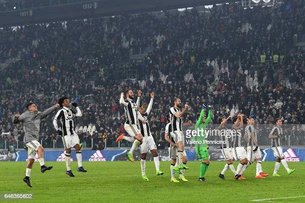 Team of Juventus FC celebrate victory at the end of the TIM Cup match between Juventus FC and SSC Napoli at Juventus Arena on February 28 2017 in...