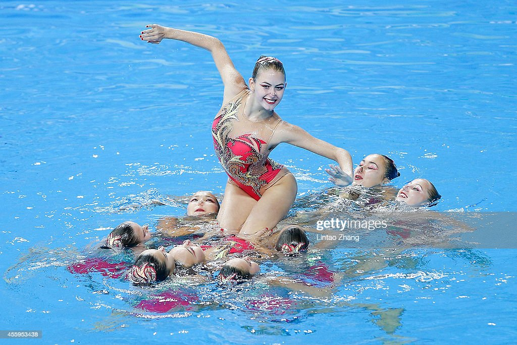 Team of Kazakhstan perform during the team synchronised swimming Free Combination Final on day four of 2014 Asian Games at Munhak Park Taehwan...