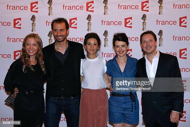 Team of 'Le plus beau jour' actors Dounia Coesens Arie Elmaleh MarieJulie Baup Constance Dolle and Davy Sardou attend 'La 28eme Nuit des Molieres' on...