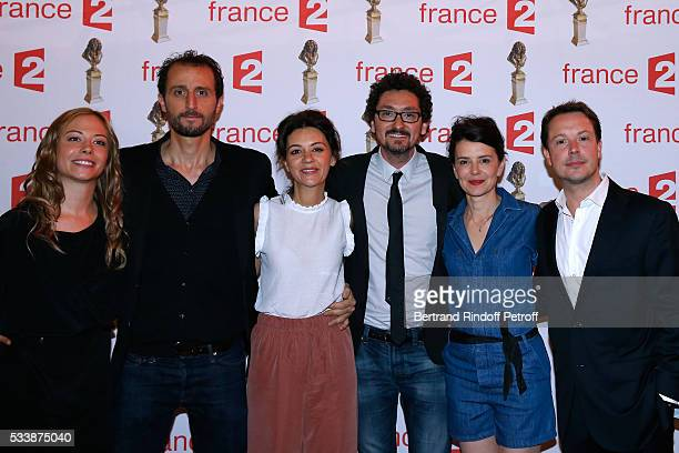 Team of 'Le plus beau jour' actors Dounia Coesens Arie Elmaleh MarieJulie Baup autor David Foenkinos actors Constance Dolle and Davy Sardou attend...