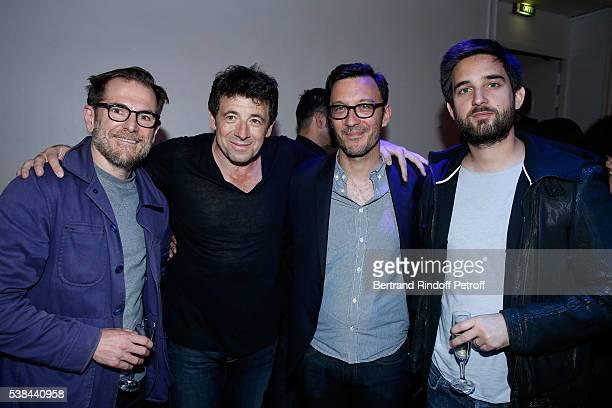 Team of 'Le Prenom' CoAutor Matthieu Delaporte actor Patrick Bruel coautor Alexandre de la Patelliere and Producer Dimitri Rassam pose after the...