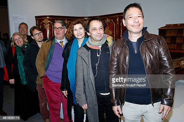 Team of 'Le Systeme' Theater Piece Sophie Barjac CoProducer Laurent Ruquier Lorant Deutsch Urbain Cancelier Marie Bunel Eric Metayer and Stage...