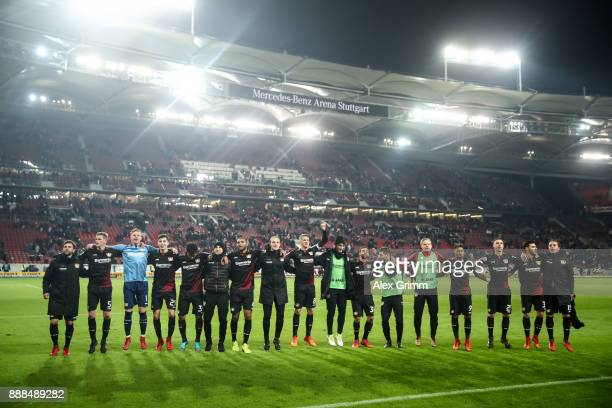 Team of Leverkusen celebrates after winning the Bundesliga match between VfB Stuttgart and Bayer 04 Leverkusen at MercedesBenz Arena on December 8...