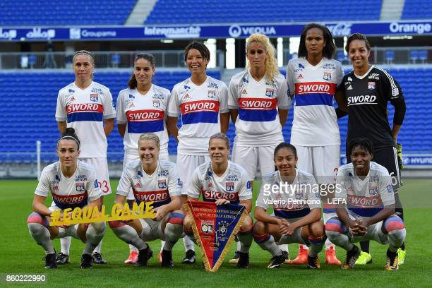 Team of Lyon line up during the UEFA Women's Champions League Round of 32 Second Leg match between Lyon and Medyk Konin at Groupama Academy Stadium...
