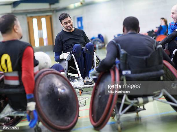 Team Of Male Wheelchair Rugby Athletes