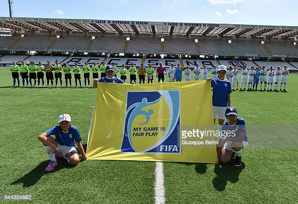 Team of Marche and Tean of Lombardia prior the Finale Regionali Women's U15 match between Marche and Lombardia at Dino Manuzzi Stadium on July 3 2016...