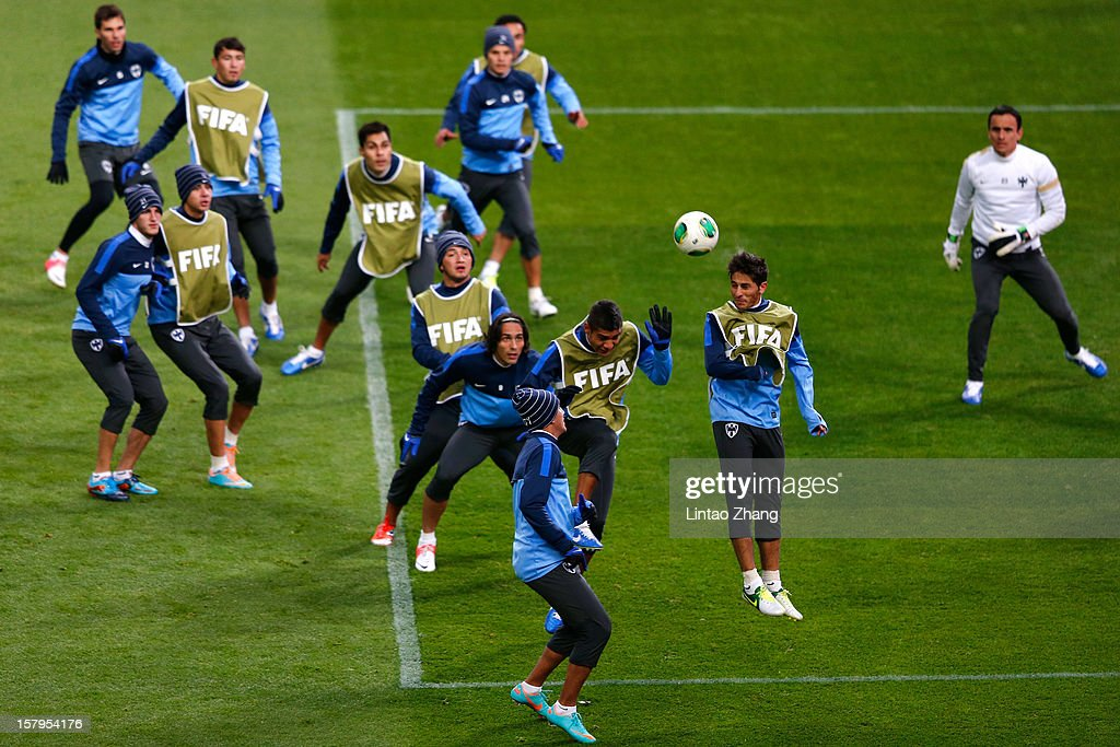 Team of Monterrey during CF Monterrey training session at Toyota Stadium on December 8, 2012 in Toyota, Japan.