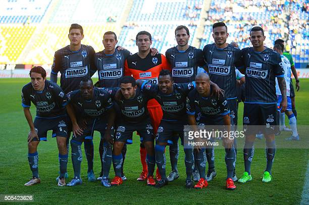 Team of Monterrey pose during the 2nd round match between Puebla and Monterrey as part of the Clausura 2016 Liga MX at Cuauhtemoc Stadium on January...