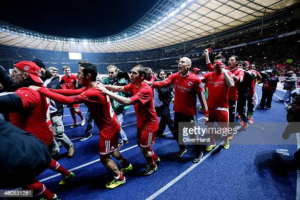 Team of Munich celebrates after the Bundesliga match between and Hertha BSC and FC Bayern Muenchen at Olympiastadion on March 25 2014 in Berlin...