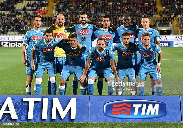 Team of Napoli poses before the Serie A match between Carpi FC and SSC Napoli at Alberto Braglia Stadium on September 23 2015 in Modena Italy