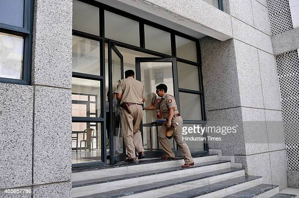 Team of Noida police visit to inspect the location after a spy camera was found in a washroom of the girls hostel of JSS College on September 18 2014...