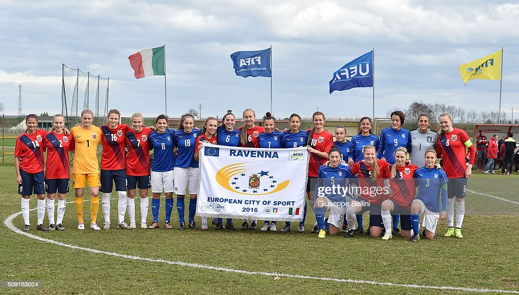 Team of Norway and Team of Italy before the Women's U17 international friendly match between Italy and Norway on February 9, 2016 in Cervia, Italy.