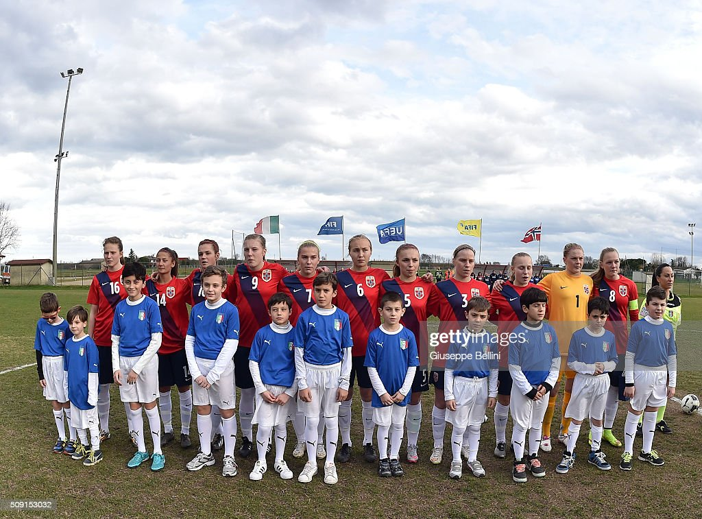 Team of Norway before the Women's U17 international friendly match between Italy and Norway on February 9, 2016 in Cervia, Italy.