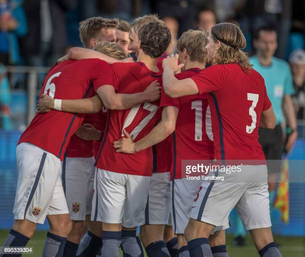 Team of Norway celebrates goal during the Qualifying Round European Under 21 Championship 2019 between Norway v Kosovo at Ullevaal Stadion on June 12...