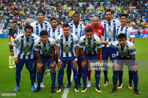 Team of Pachuca pose prior to the 2nd round match between Pachuca and America as part of the Torneo Apertura 2017 Liga MX at Hidalgo Stadium on July...