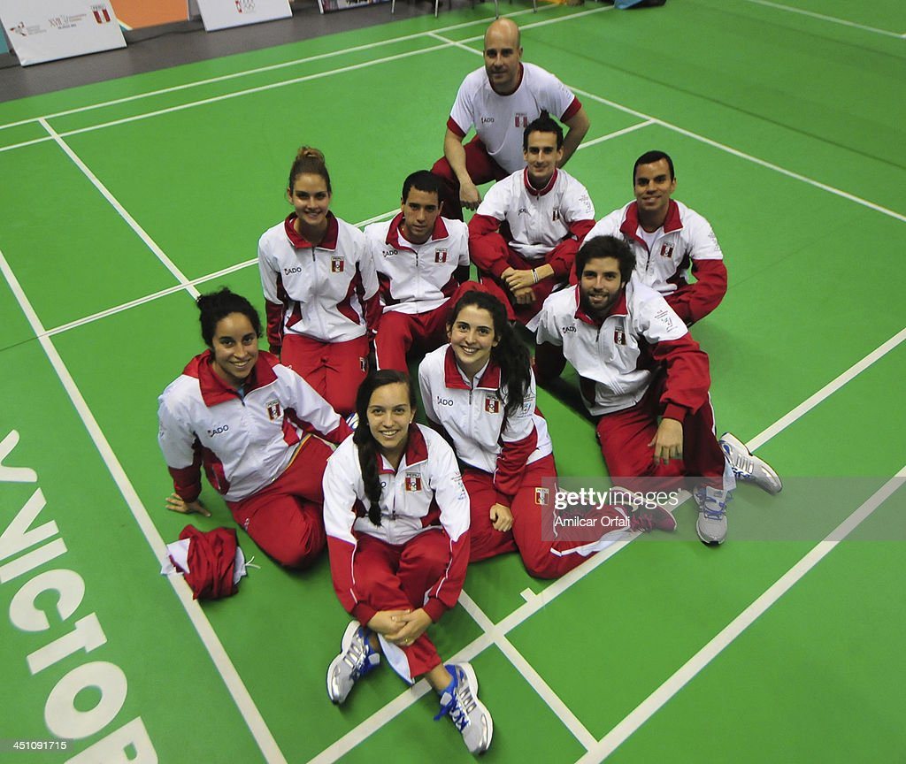 Team of Peru pose after winning gold medals in singles and doubles as part of the XVII Bolivarian Games Trujillo 2013 at Villa Regional del Callao on November 21, 2013 in Lima, Peru.