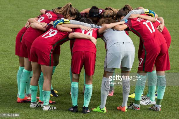 Team of Portugal gets together prior the UEFA Women's Euro 2017 Group D match between Scotland v Portugal at Sparta Stadion on July 23 2017 in...