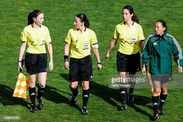 Team of referees Assitant Sian Massey Referee Morag Pirie Assistant Eveline Bolli and referee Nami Sato during the Women Algarve Cup match between...