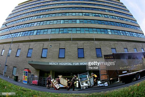 A team of removalists work on the huge task of moving everything from the old to the new Mercy Hospital on 5th September 2005 THE AGE NEWS Picture by...