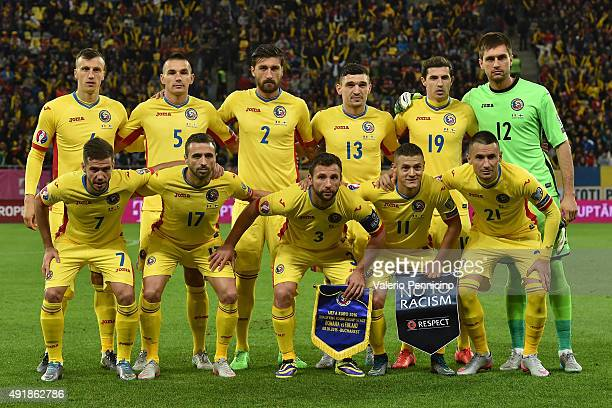 Team of Romania line up during the UEFA EURO 2016 Qualifier between Romania and Finland on October 8 2015 in Bucharest Romania